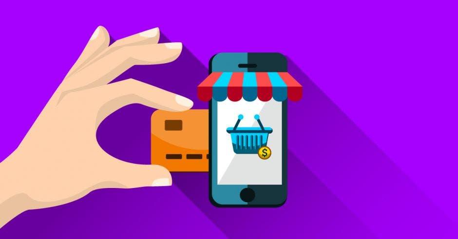 celular con canasta de compras y una tarjeta que la ingresa una mano