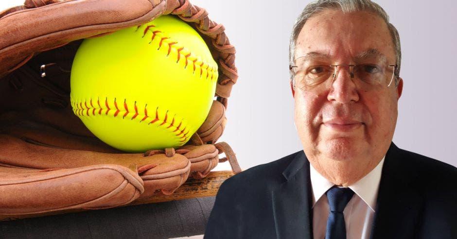 señor de lente bat de besibol y bola