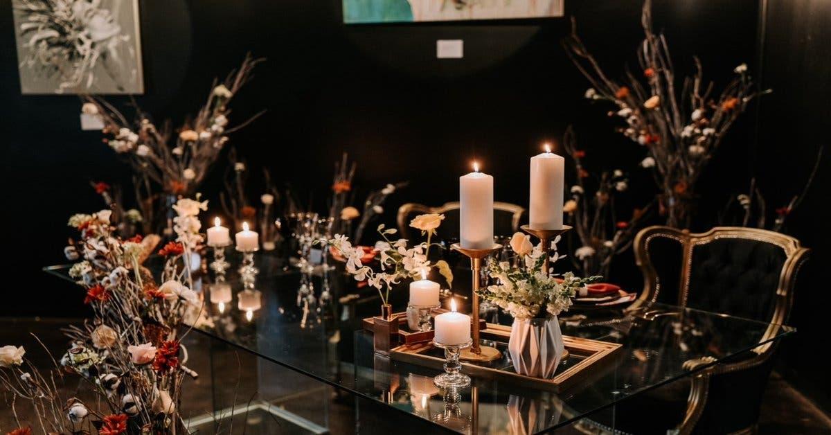 Mesa decorada para boda