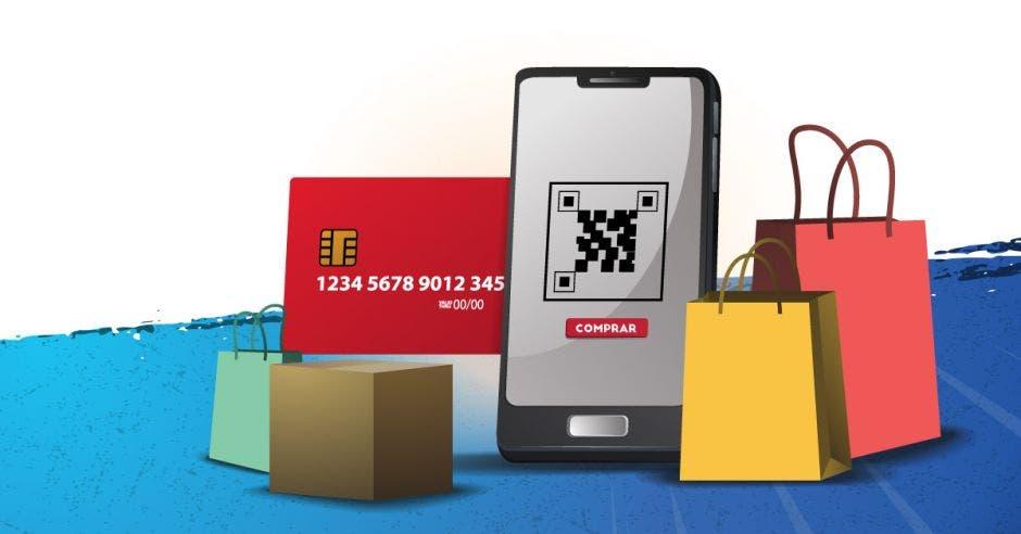 diseño de celular con bolsas de compras