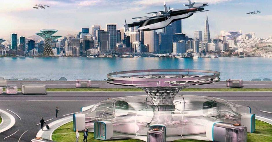 ciudad futuristica y avion