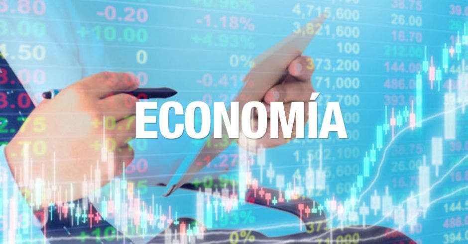 palabra economía y con gráficos de fondo