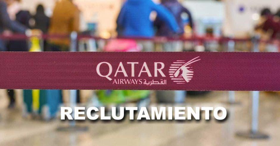 Cinta de Qatar Airways en una sala de espera