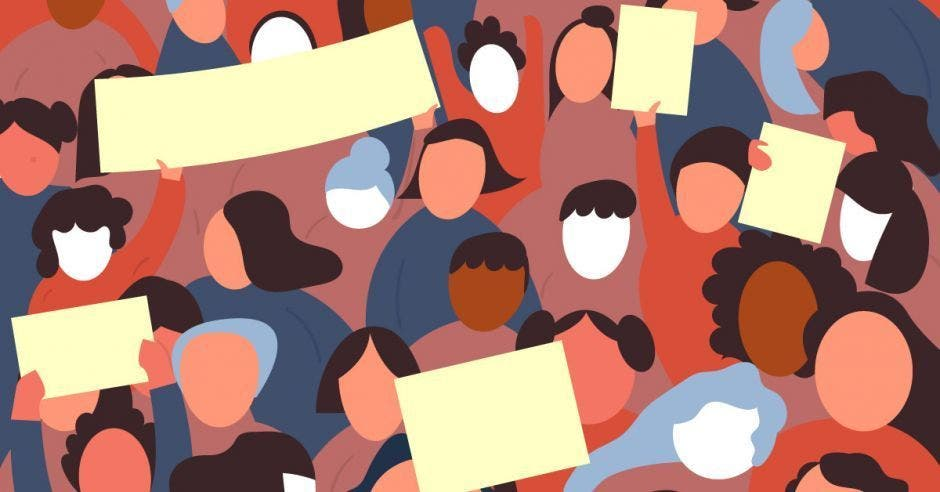 caricatura de personas en huelga