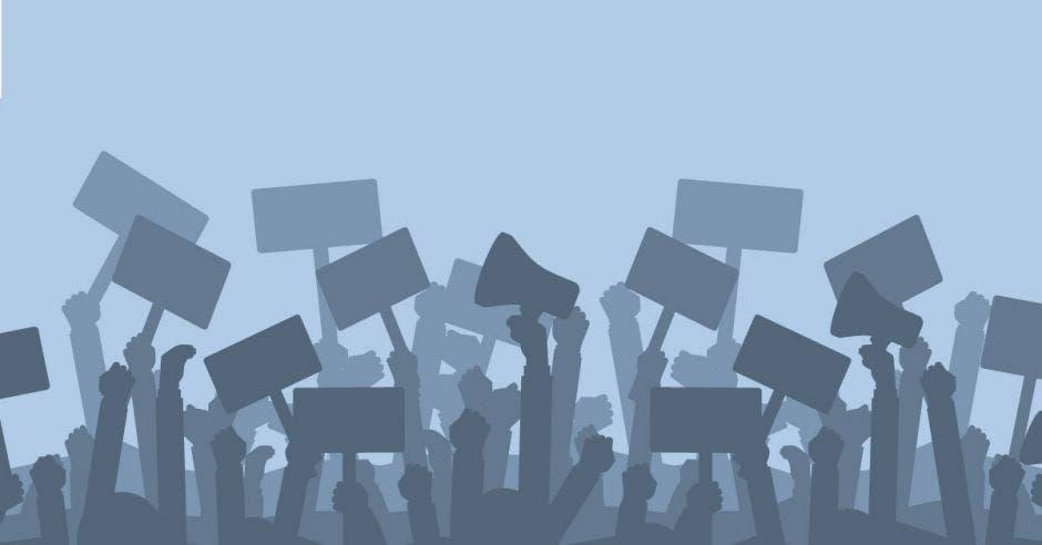 Una ilustración de siluetas manifestándose con carteles