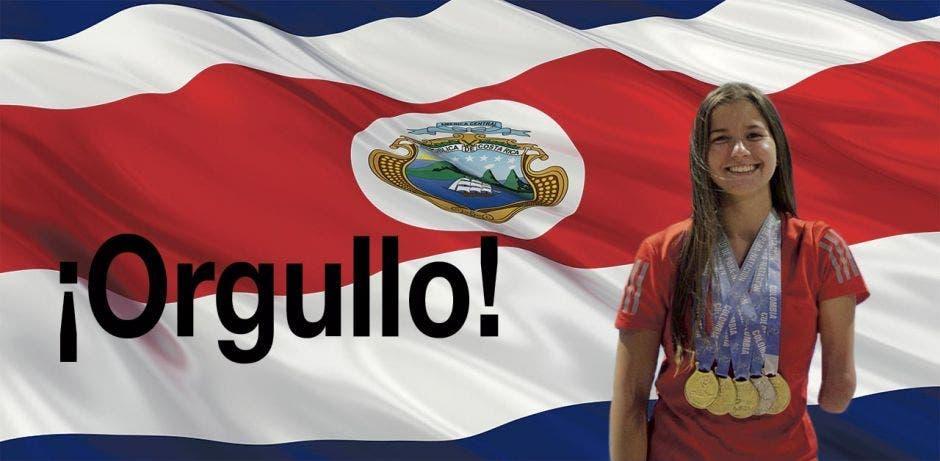 camila haase con medallas en cuello y bandera de costa rica de fondo