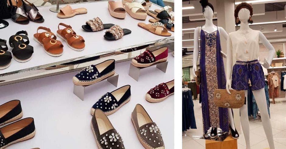 Un estante con variedad de zapatos de mujer y a un lado dos maniquies con ropa femenina