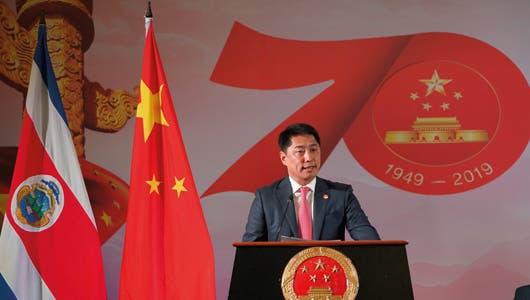 El embajador Tang Heng en su discurso durante la celebración del 70o Aniversario de la Fundación de la República Popular China.