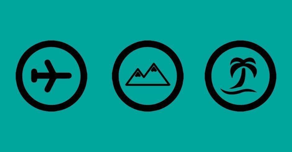 Tres símbolos de artículos alusivos a viajes
