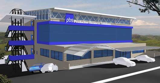 Render del edificio de grupo PBS en colores gris y azul