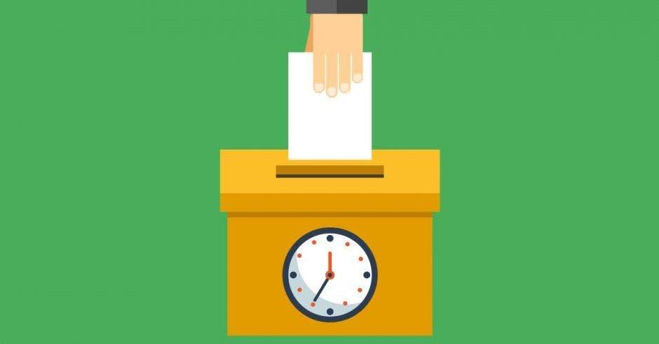 Una ilustración de una persona votando