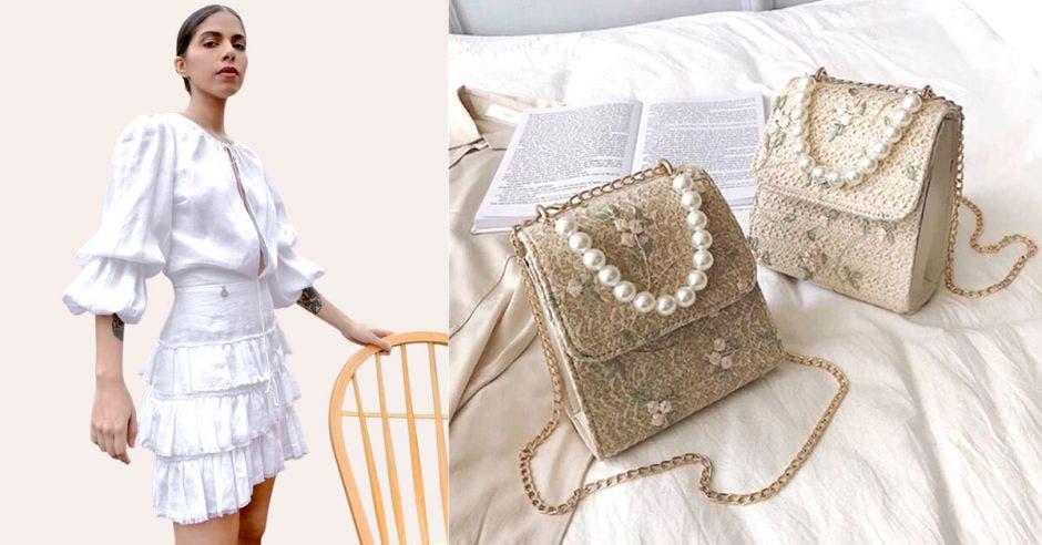 """Una mujer con un vestido de """"vuelos"""" y al lado dos carteras con perlas"""