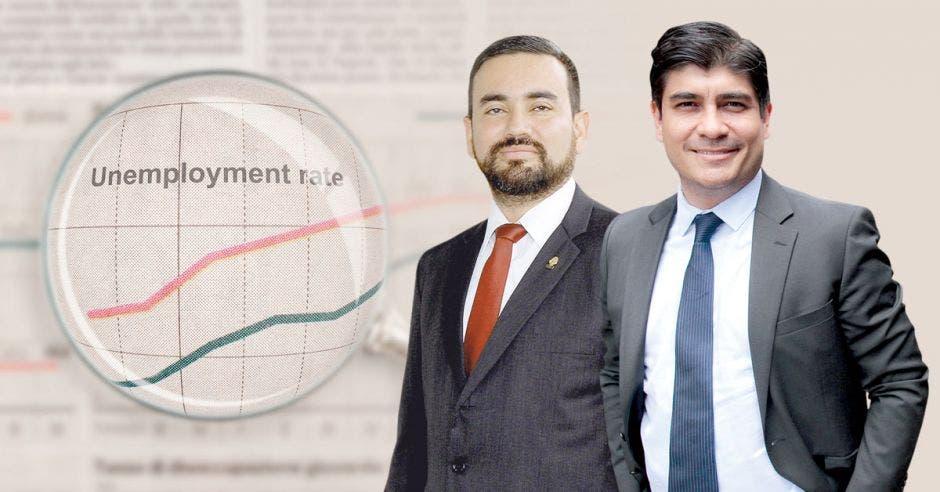 El diputado Jonathan Prendas, de Nueva República, se enfrentó al presidente Carlos Alvarado por el alto desempleo. Elaboración propia/La República.