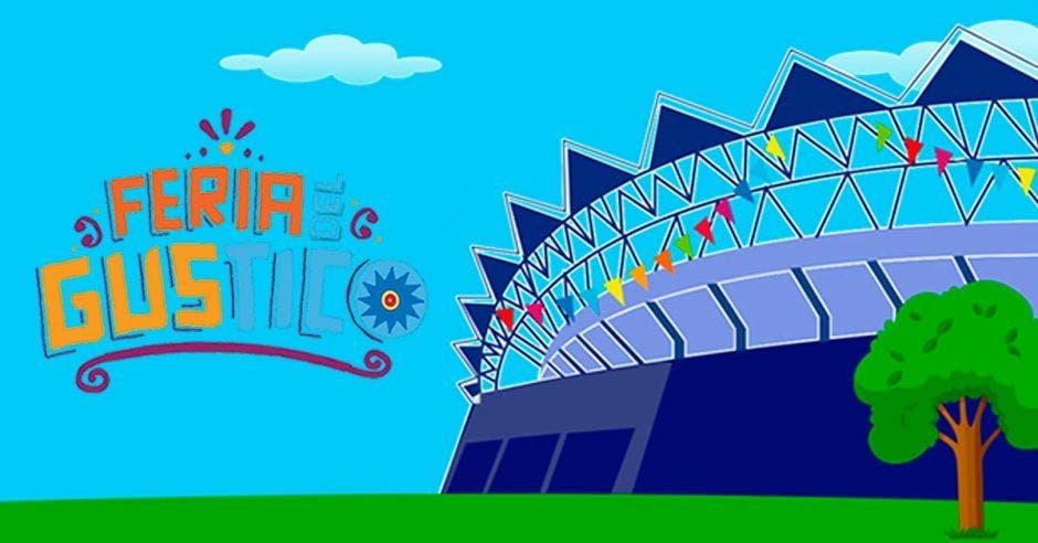 Logo de la feria del gustico junto al estadio nacional