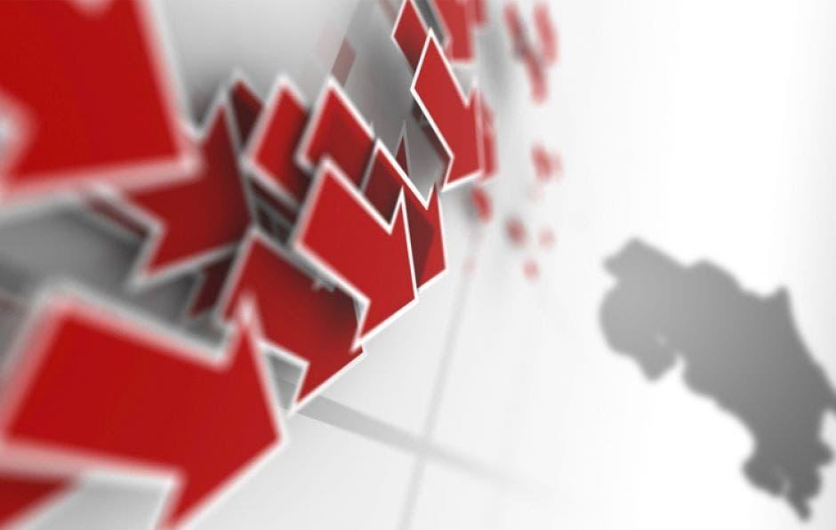 mapa de Costa Rica con flechas rojas bajando