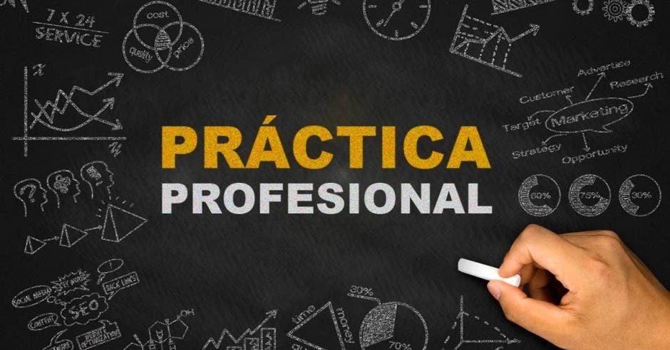 pizarra con la  palabra  práctica profesional escrito con tiza