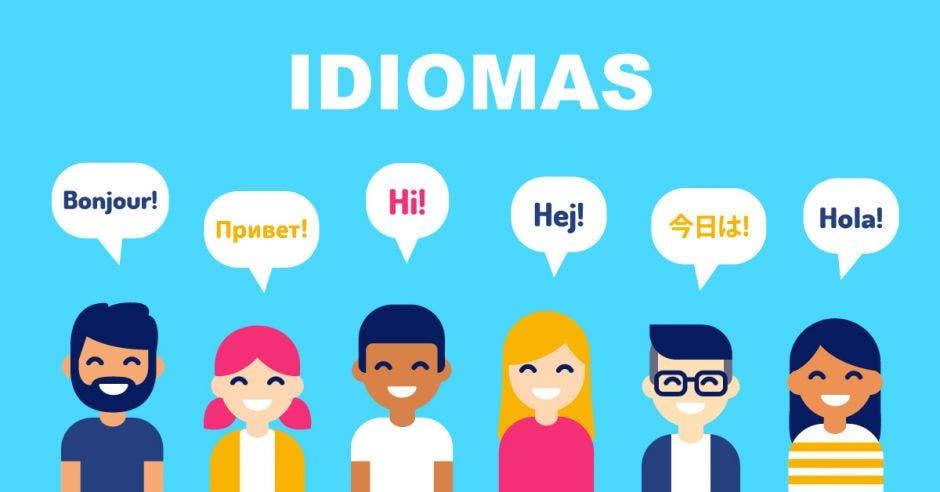 Dibujo de varias personas diciendo hola en distintos idiomas