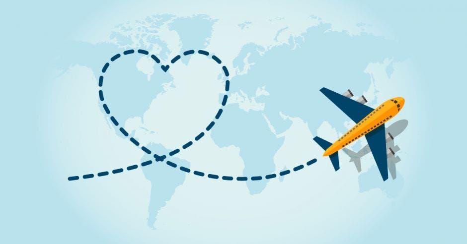 un avión forma una trayectoria con forma de corazón
