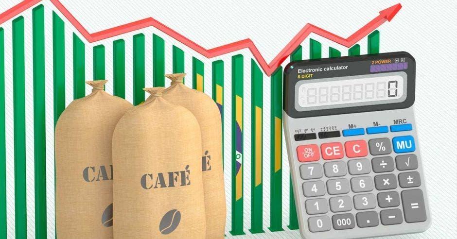 bolsas de café, gráfico creciente y una calculadora