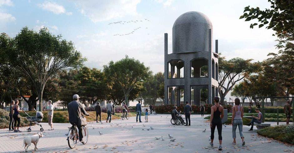 Un parque con un monumento de cemento en el centro