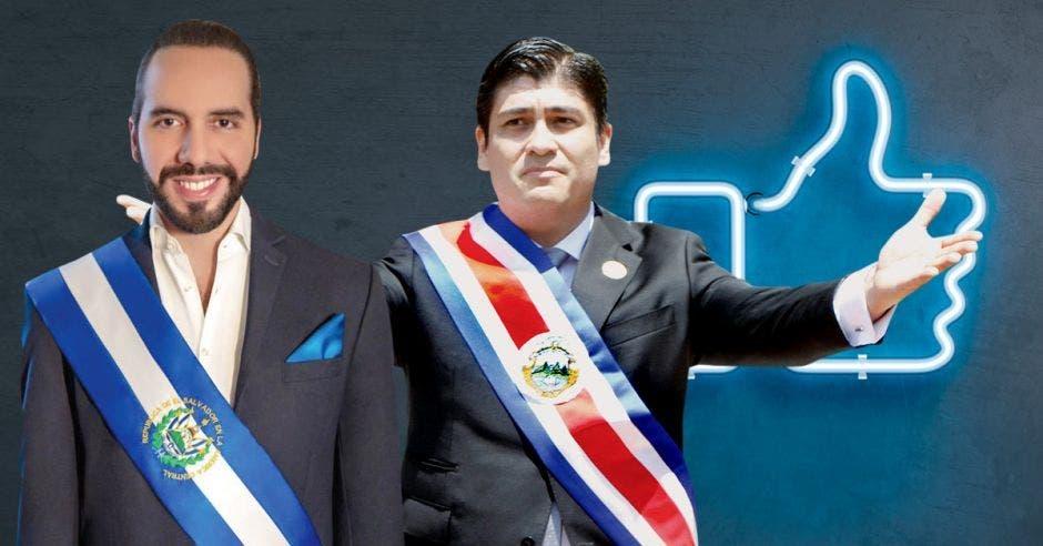 Los presidentes Nayib Bukele de El Salvador y Carlos Alvarado de Costa Rica destacan en el más reciente ranking de la empresa Mitofsky. Archivo/La República.