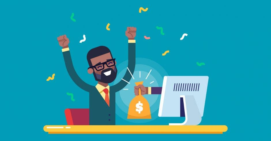Un trabajador feliz con una bolsa de dinero saliendo de la computadora