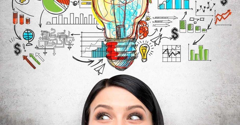 mujer pensando con gráficos saliendo de su cabeza, bombillos, gráficos, flechas,  todos dibujados