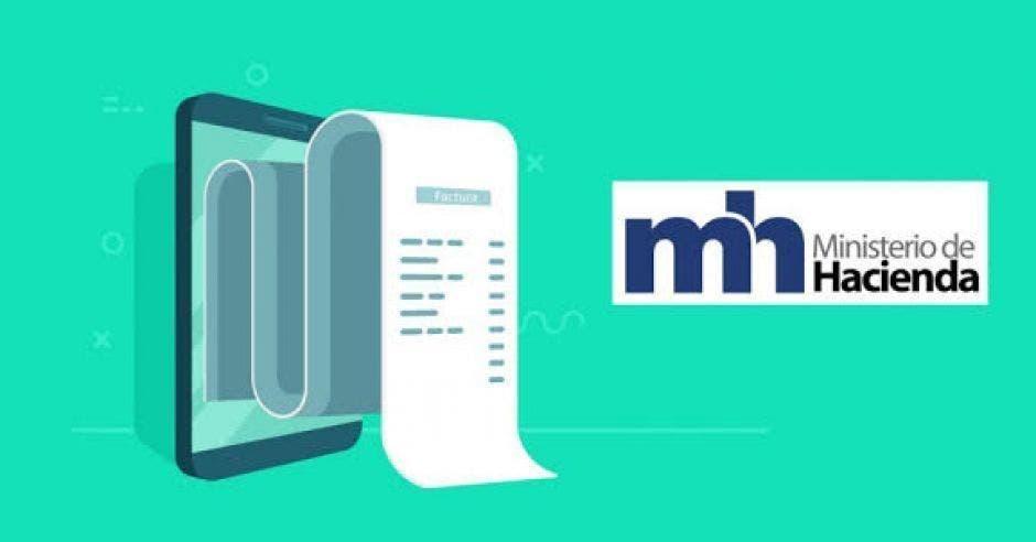 factura electrónica con el logo del ministerio de Hacienda.