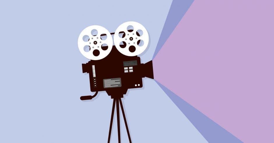 ilustración con cámara de cine