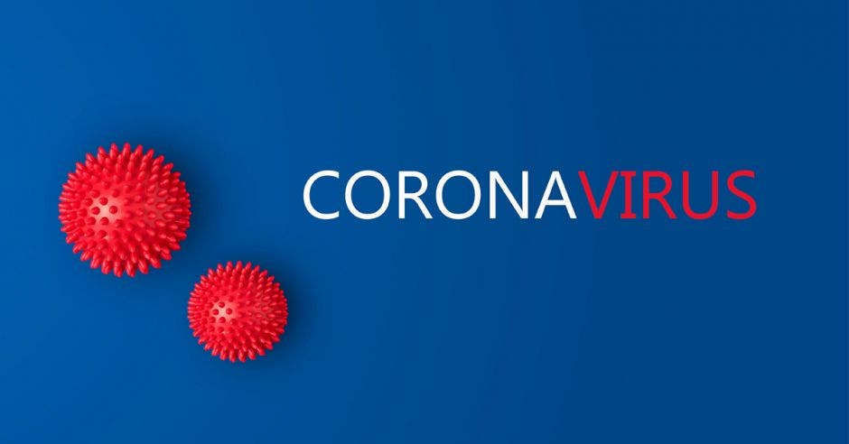 palabra coronavirus con fondo azul