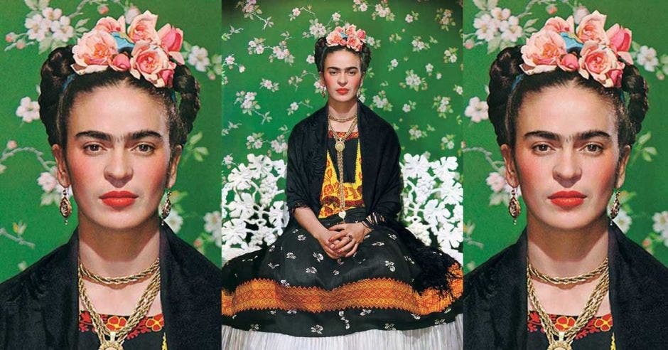 Tres foto de Frida Kahlo con una vincha de rosas y un vestido negro con amarillo