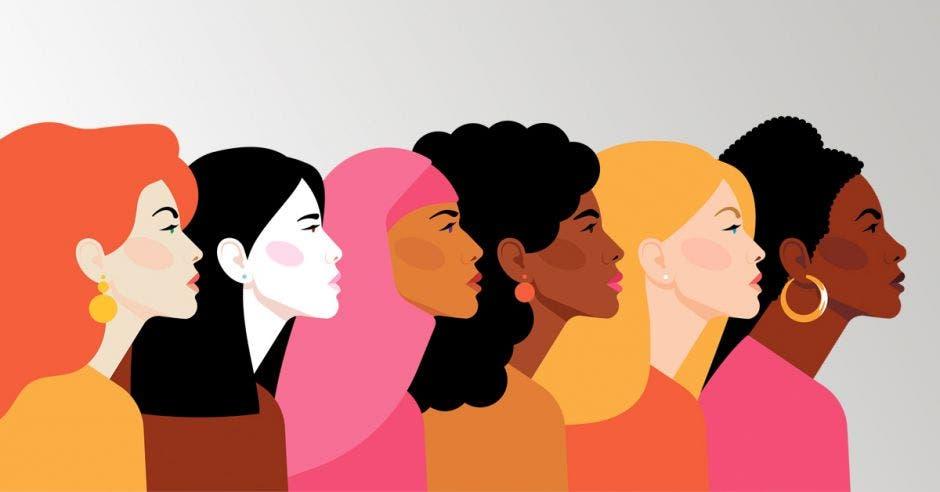 Mujeres de diversas nacionalidades en ilustración