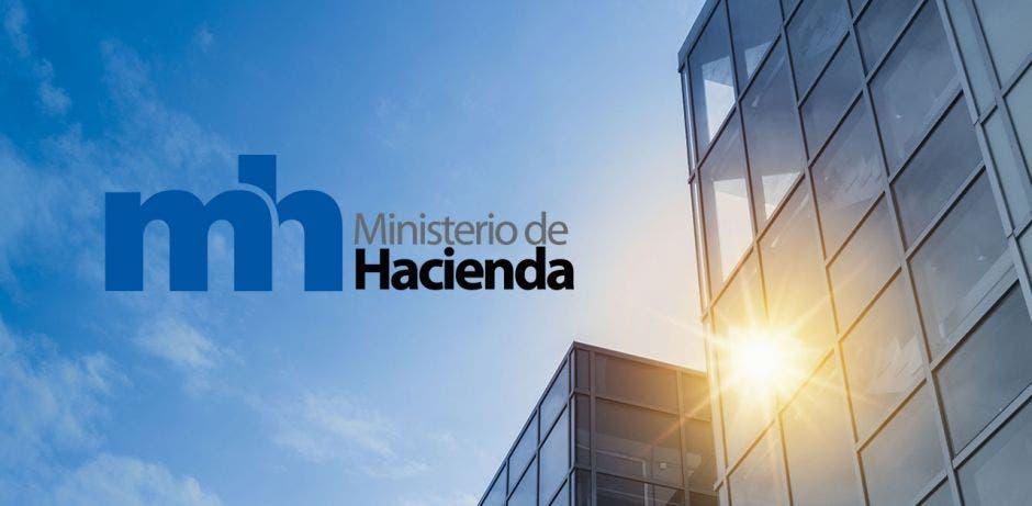 Edifioc con sol de fondo y logo del ministerio de hacienda