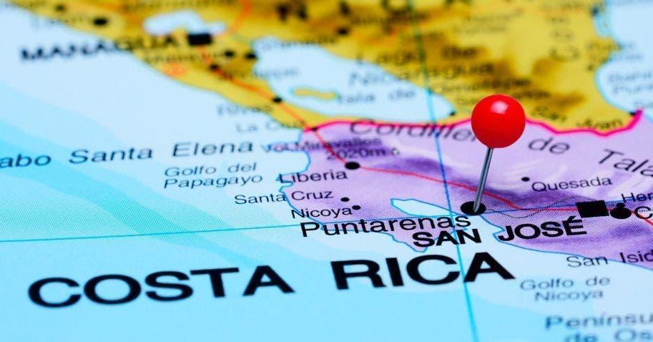 Un mapa señalando Costa Rica