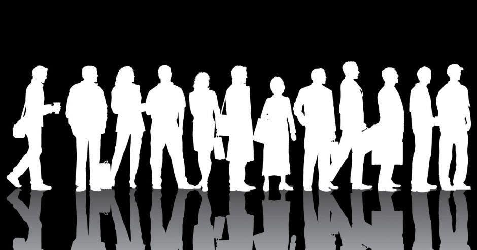 Una fila de personas color blanco sobre un fondo negro