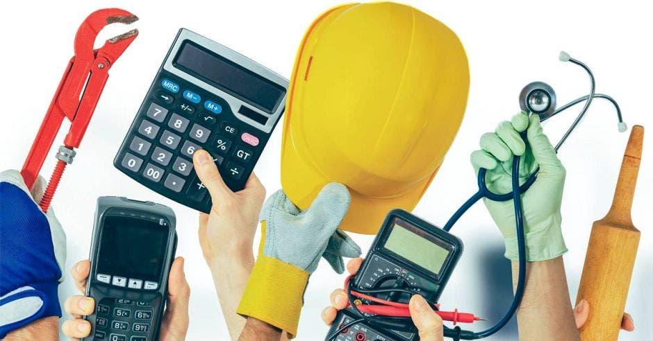 instrumentos de trabajo  y calculadoras