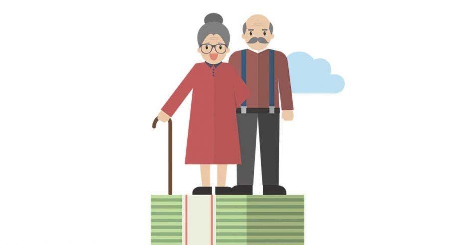 hombre y mujer ancianos en caricatura encima de un puño de billetes