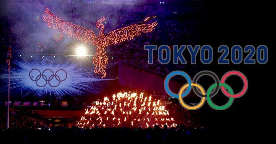 La ceremonia en la que se hace la selección de Japón como sede, con un ave de fuego y al lado los aros olímpicos con el nombre Tokyo 2020