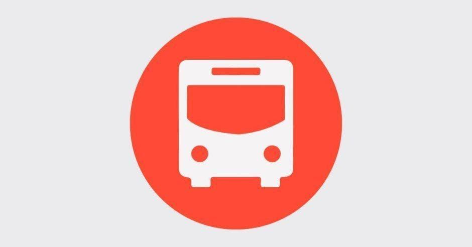 ícono de un bus de color blanco con fondo rojo