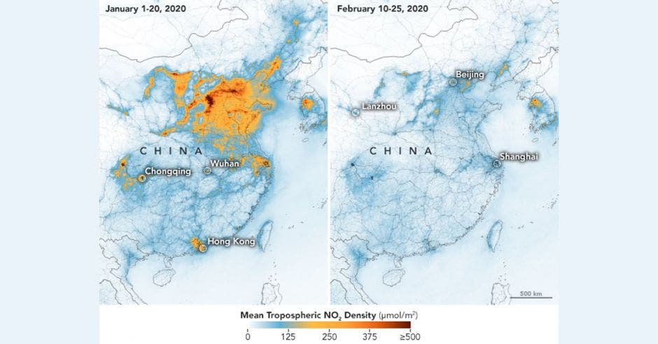 Dos mapas de china que develan una masa de color amarillo que se reduce