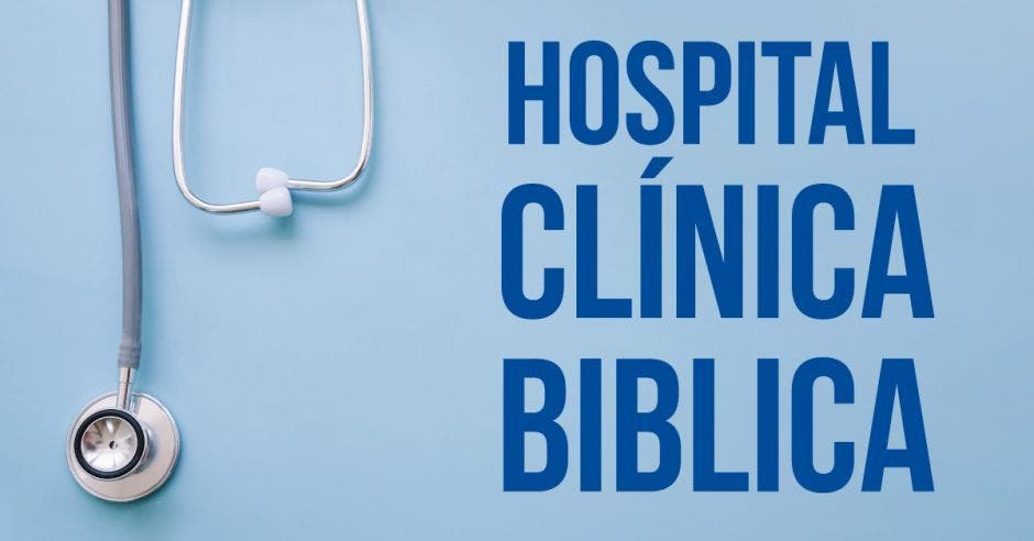 hospital clinica biblica y un estetoscopio