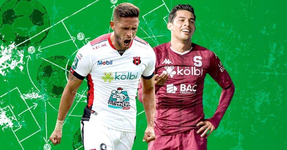 Jonathan Moya (LDA) y Ariel Rodriguez (SAP) están en un montaje celebrando un gol