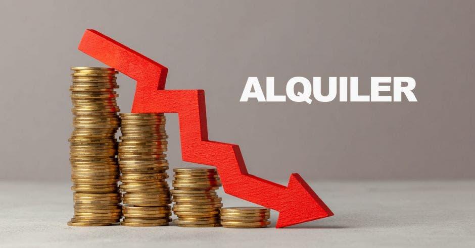 monedas en grupos decrecientes a manera de gráfico con flecha hacia abajo con palabra alquiler