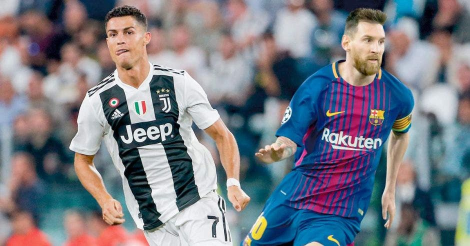 Cristiano Ronaldo y Messi corriendo, en un montaje en el que ambos están en el mismo estadio con los uniformes de la Juventus y Barcelona respectivamente