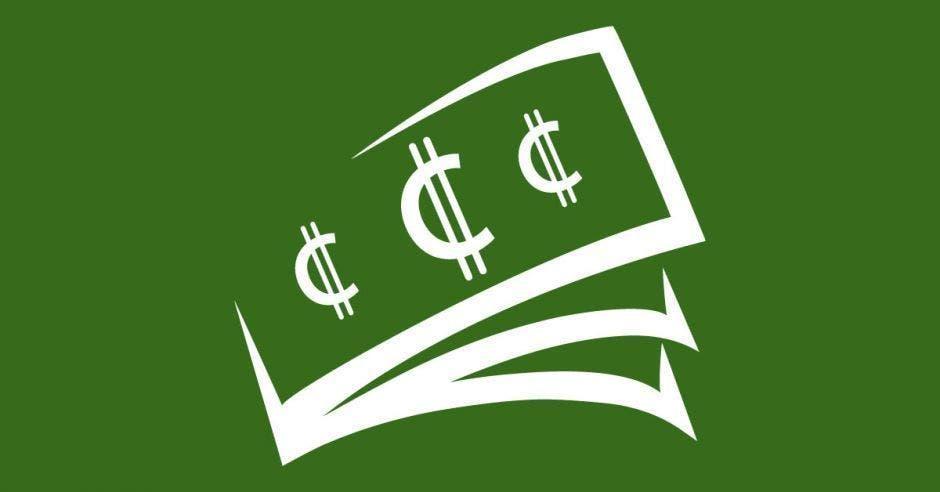 Una ilustración de billetes con el símbolo de colones