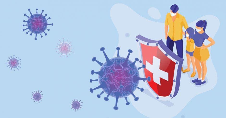 Una familia frente a un escudo de Coronavirus y varias moléculas que representan el virus