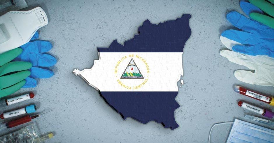 un mapa de NIcaragua con la bandera pintada