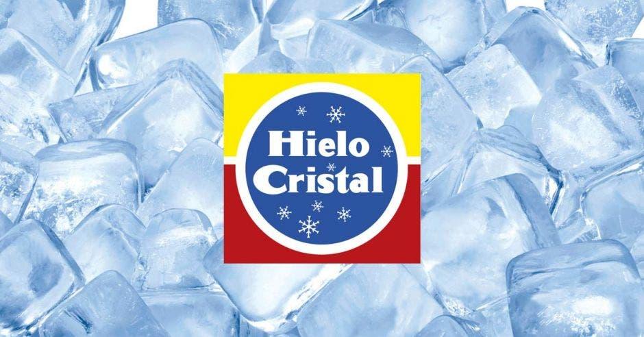 Logo hielo cristal  y hielo  de fondo