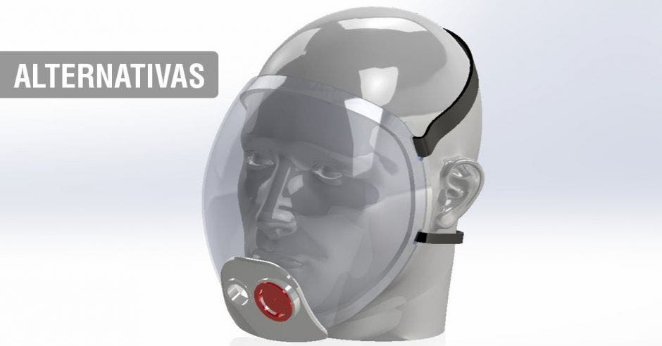 Una mascarilla de plástico con un filtro rojo