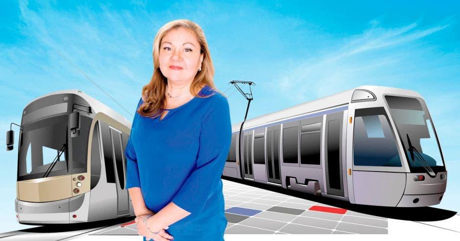 Ilustración donde aparece Elizabeth Briceño, jerarca de Incofer, entre dos trenes modernos